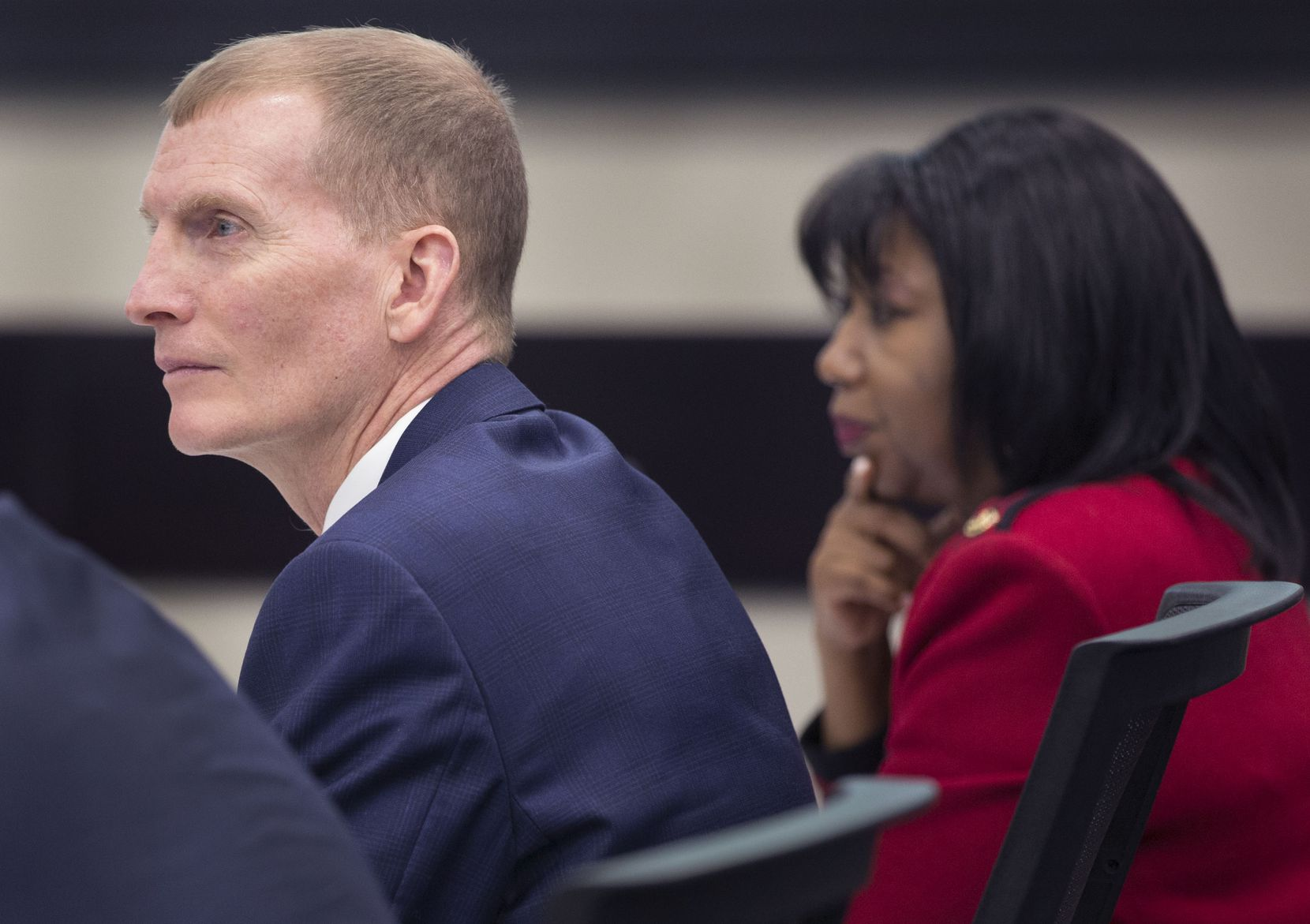 From left, Phillip Jones, VisitDallas president and CEO, and Joyce Williams, VisitDallas chair elect, during a meeting with city council members in the Dallas City Council briefing room at Dallas City Hall in Dallas on Tuesday, February 19, 2019. The meeting discussed an audit of VisitDallas.
