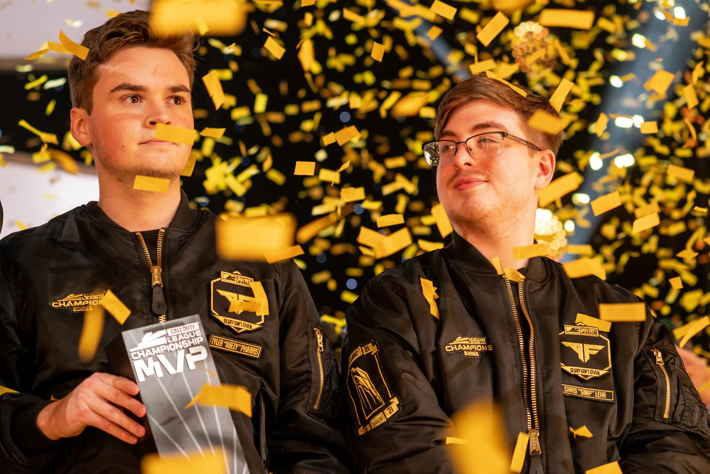 """From left, Tyler """"aBeZy"""" Pharris and Chris """"Simp"""" Lehr of the Atlanta FaZe celebrates as FaZe beats the Toronto Ultra  during the Call of Duty league playoffs championship round at the Galen Center on Sunday, August 22, 2021 in Los Angeles, California. The Atlanta FaZe beat the Toronto Ultra 5 - 3."""