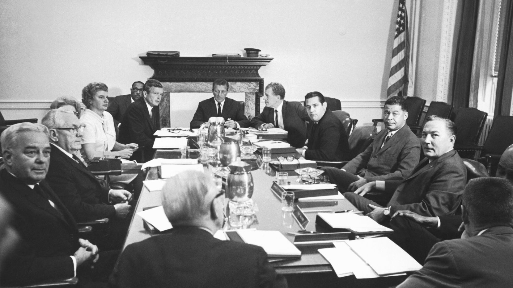 The Kerner Commission in session, Washington D.C., 1967. Officially called the National Advisory Commission on Civil Disorders, it was created by President Lyndon Johnson to investigate the causes of the 1967 race riots in the United States and to provide recommendations for the future.