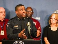 Arlington police Chief Al Jones spoke during a news conference Friday about the fatal shooting.