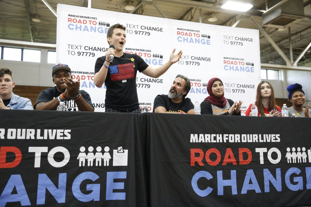 Cameron Kasky speaks during a panel with students from Stoneman Douglas High School in Parkland, Fla., at Paul Quinn College in Dallas on July 7, 2018.