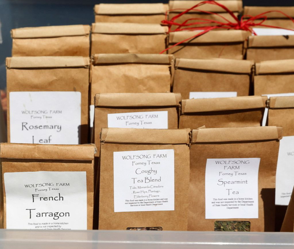Detail photo of some of the herbal teas offered by Wolfsong Farm at the White Rock Lake Farmers Market.