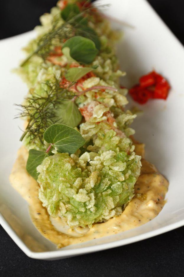 Young green rice fried shrimp with chile-spiked mayo
