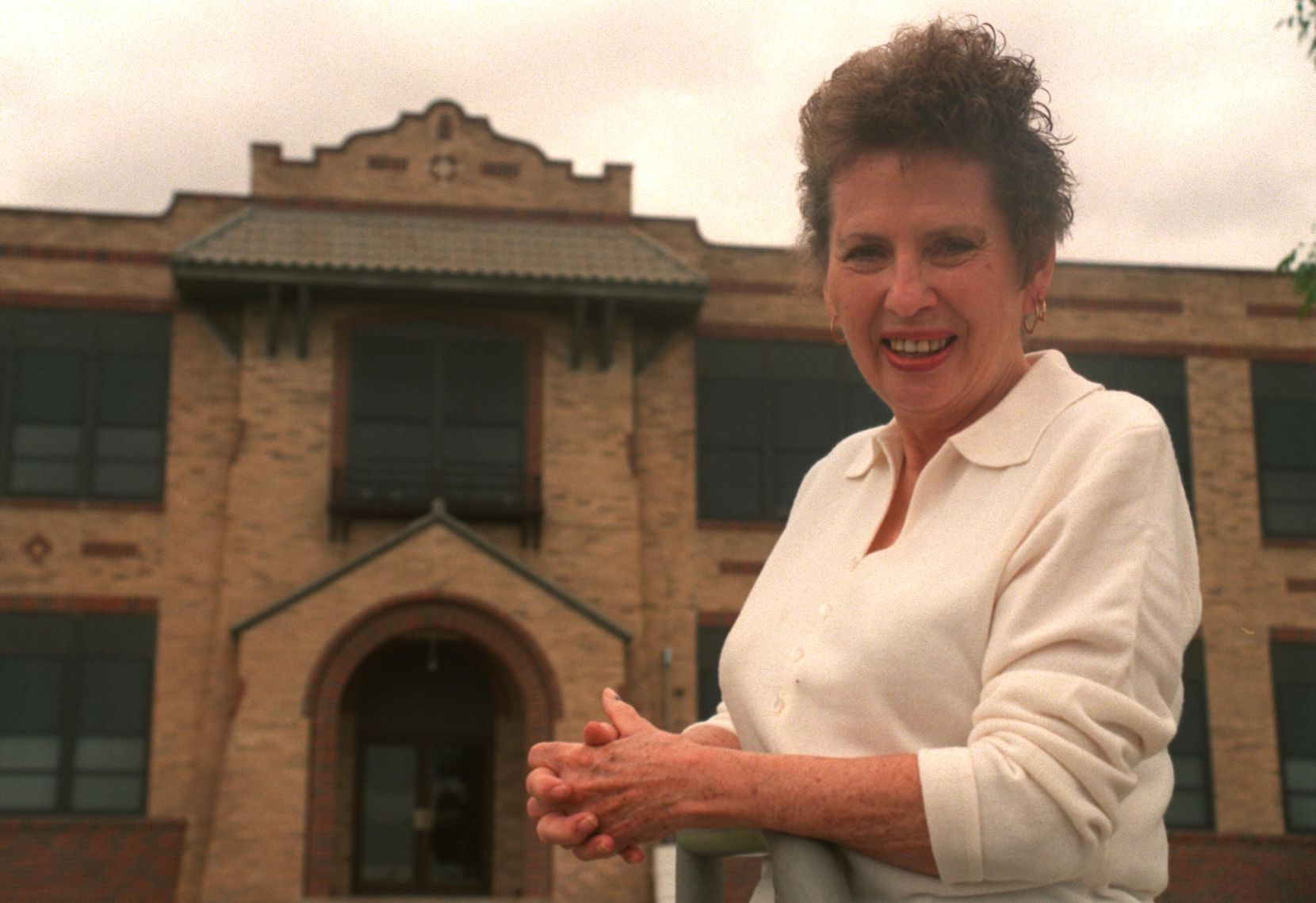 Frankie Groves stands in front of West Texas High School. It used to be Stinnette when she played football there.