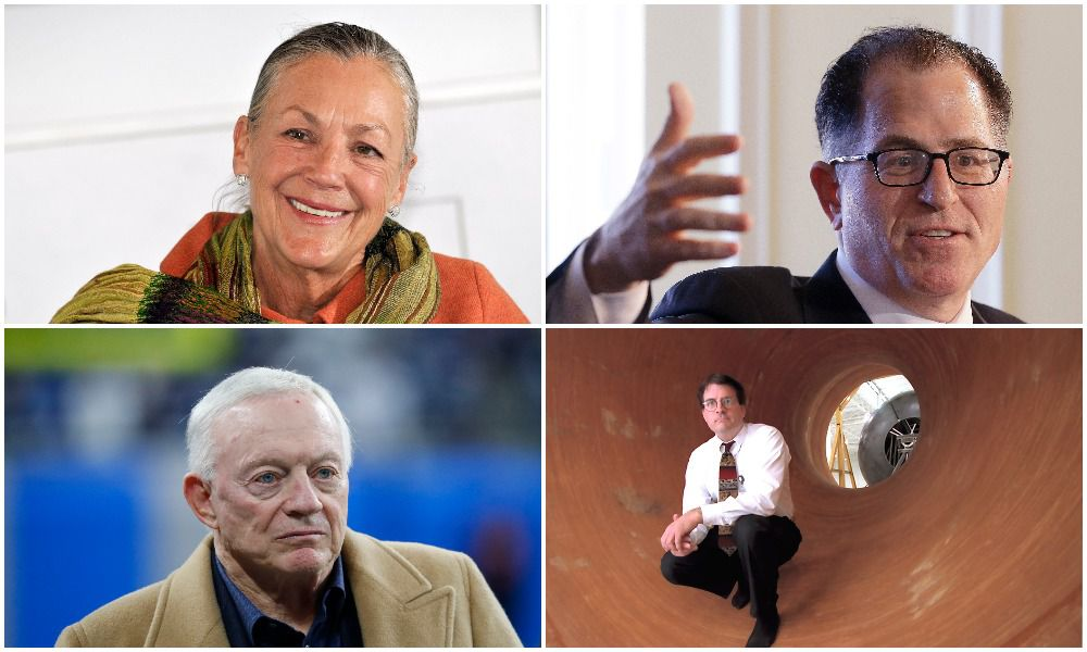 Four of Texas' wealthiest residents (clockwise from top left): Walmart heiress Alice Walton, computer mogul Michael Dell, banker Andrew Beal and Dallas Cowboys owner Jerry Jones.