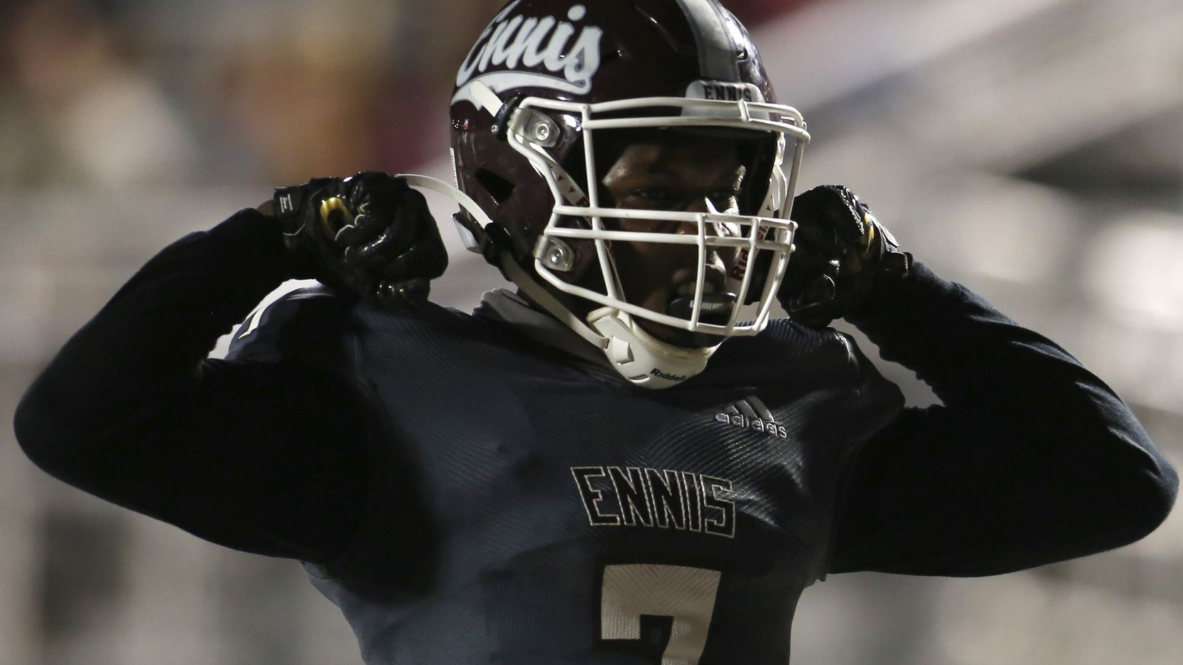 Ennis receiver Laylon Spencer (7) celebrates after pulling in a second quarter receiving touchdown during their game against Mansfield Summit. The two teams played their non-district football game at  Lions Stadium on the campus of Ennis High School in Ennis on October 22, 2020.