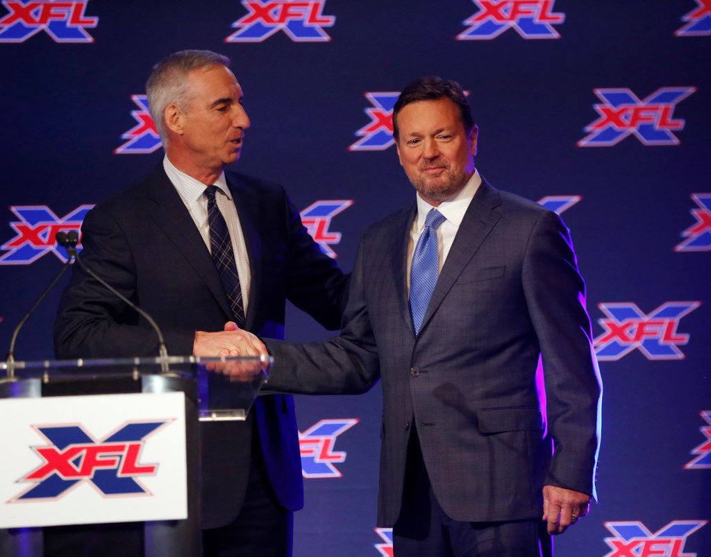 FILE - Oliver Luck, XFL CEO and commissioner introduces Bob Stoops, new head coach and general manager of the Dallas team during a press conference at Globe Life Park in Arlington, on Thursday, February 7, 2019. (Vernon Bryant/The Dallas Morning News)