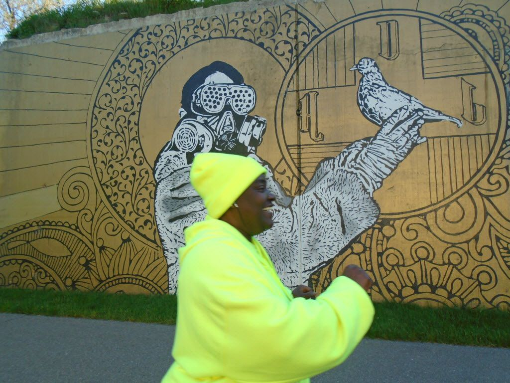 Fine and outsider artworks brighten the new Dequindre Cut Greenway running from Eastern Market to the Detroit riverfront.
