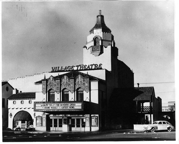 The exterior of the Village Theatre in 1944. The marquee advertised The Seventh Cross with Spencer Tracy.