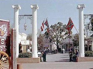 The battle flag hung at the entrance to the Confederate section (now the Old South) at Six Flags Over Texas in the early years.