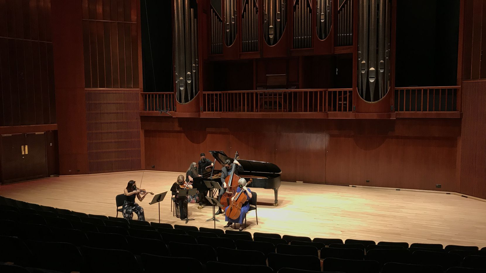 Voices of Change artistic director and violinist Maria Schleuning, violist Barbara Sudweeks, pianist Liudmila Georgievskaya, bassist Brian Perry and cellist Gayane Manasjan Fullfordand perform Ralph Vaughan Williams' Piano Quintet in C minor at Southern Methodist University's Caruth Auditorium on Oct. 18.