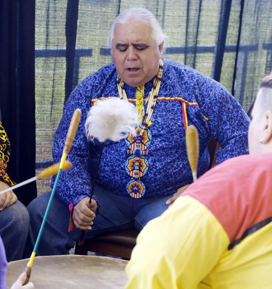 Robert Soto, of the Lipan Apache Tribe of Texas, led the Huisache Creek Singers during the calling song at American Indian Heritage Day in 2019.