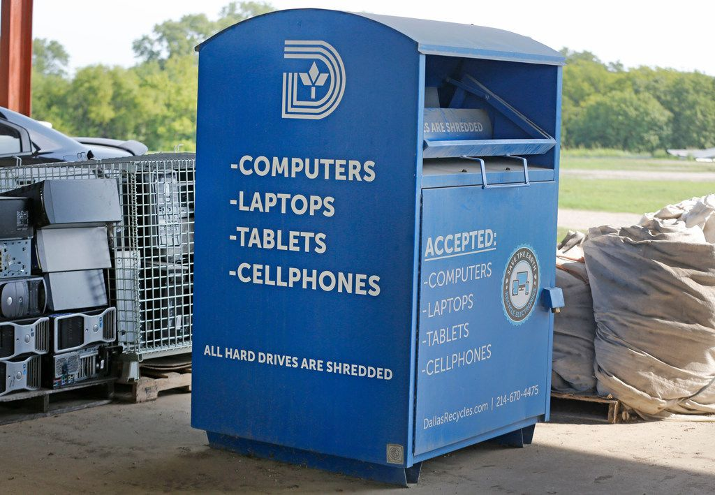 A receptacle  for electronics stands at the McCommas Bluff Landfill at 5100 Youngblood Road in Dallas.