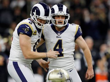 NEW ORLEANS - JAN. 20: Greg Zuerlein (4) of the LA Rams celebrates with Johnny Hekker (6) after kicking a field goal to force overtime against the Saints in the NFC Championship Game at the Mercedes-Benz Superdome on Jan. 20, 2019, in New Orleans. (Photo by Kevin C.  Cox/Getty Images)
