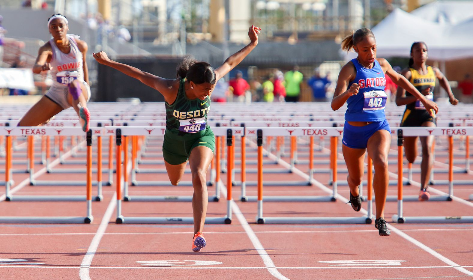 DeSoto's Jalaysi'ya Smith crosses the finish line in the 6A Girls 100 meter hurdles during the UIL state track meet at the Mike A. Myers Stadium, at the University of Texas on May 8, 2021 in Austin, Texas.