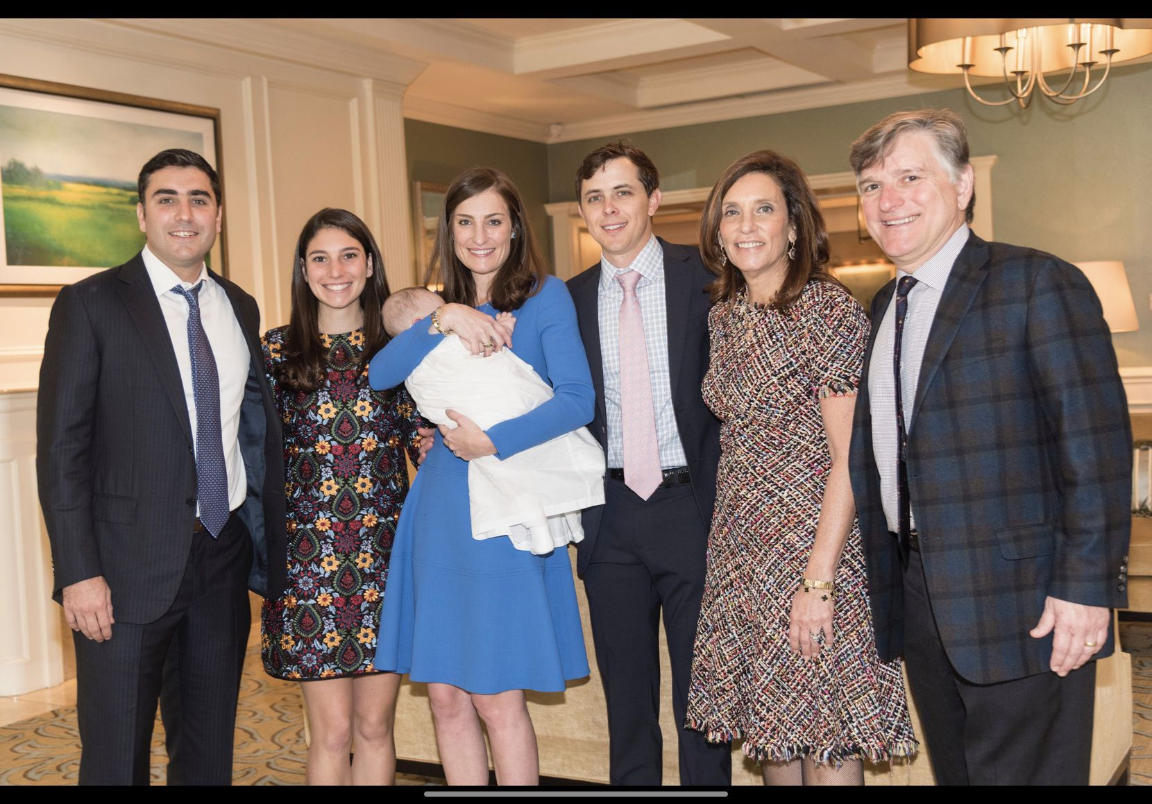 Maryann Mihalopoulos' family includes (from left) son Arthur Brousseau, youngest daughter Meredith Mihalopoulos, oldest daughter Alexandra Brousseau Halbardier holding grandson Louis Halbardier, son-in-law Ford Halbardier, Maryann and husband Frank.