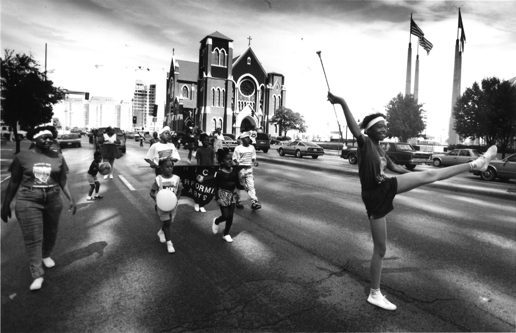 Andrea Lockley led the Charles Rice Performing Arts Marching Group down Pearl Street.