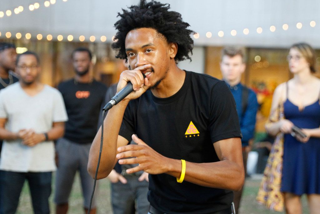 Hip- hop artist Bobby Sessions performs for the crowd at Artist Uprising Presents: The Dallas Music Experience at Harry C. Beck, Jr. Park in downtown Dallas Friday April 7, 2017. (Ron Baselice/The Dallas Morning News)