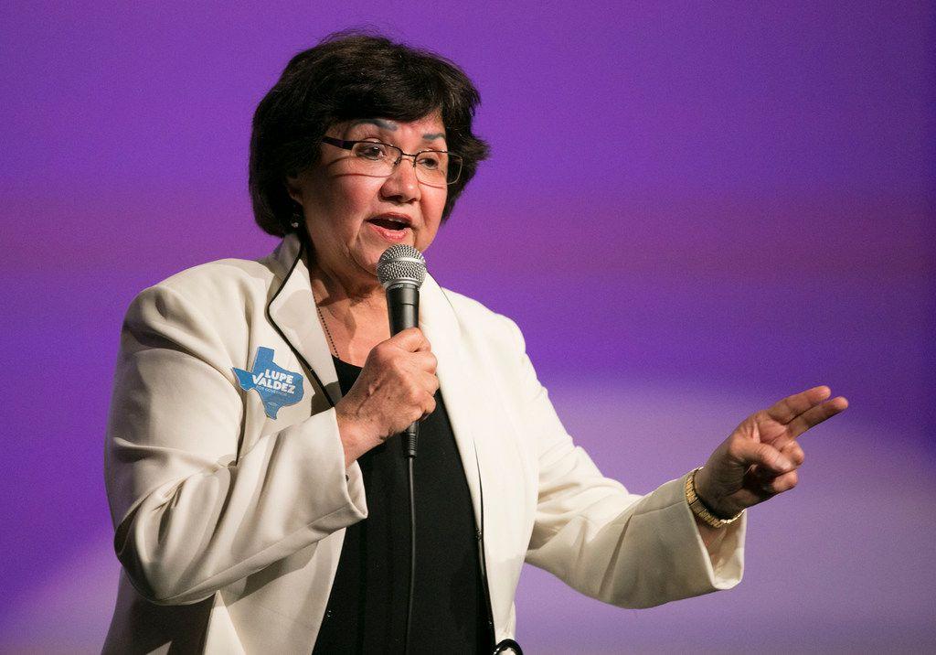 Democratic gubernatorial candidate Lupe Valdez speaks at the Jolt Texas Town Hall at AFC Cinema on Sunday April 29, 2018.  JAY JANNER / AMERICAN-STATESMAN