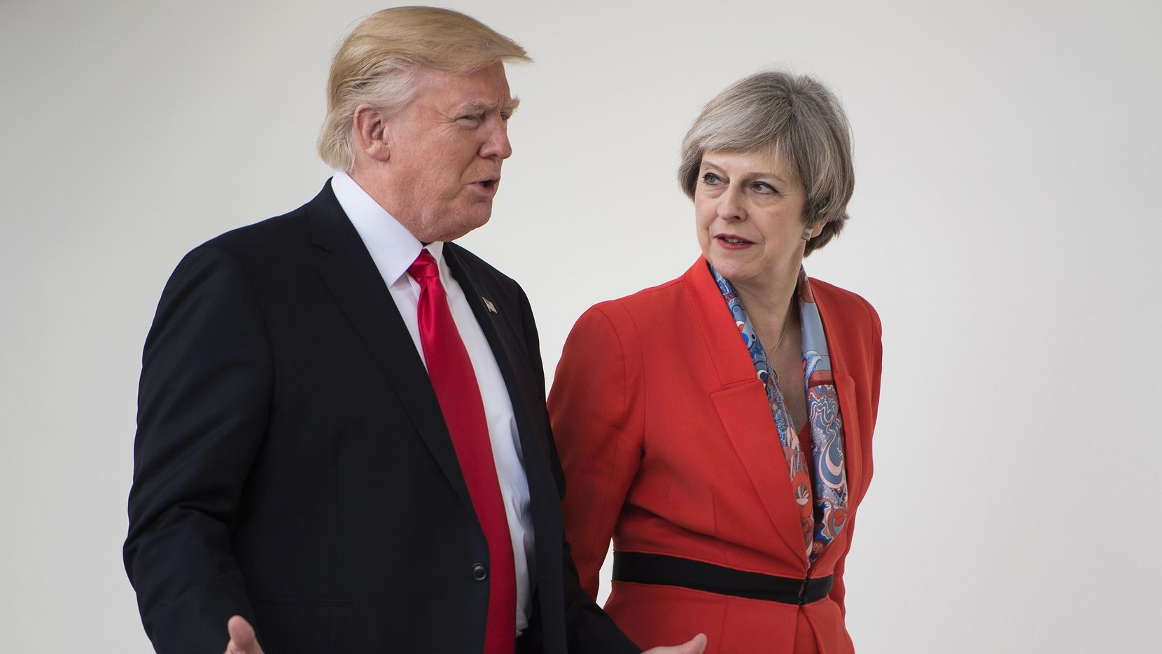 "President Donald Trump, walking her with British Prime Minister Theresa May, touted on Friday the  ""special relationship"" between the two countries. (Brendan Smialowski/Agence France-Presse)"
