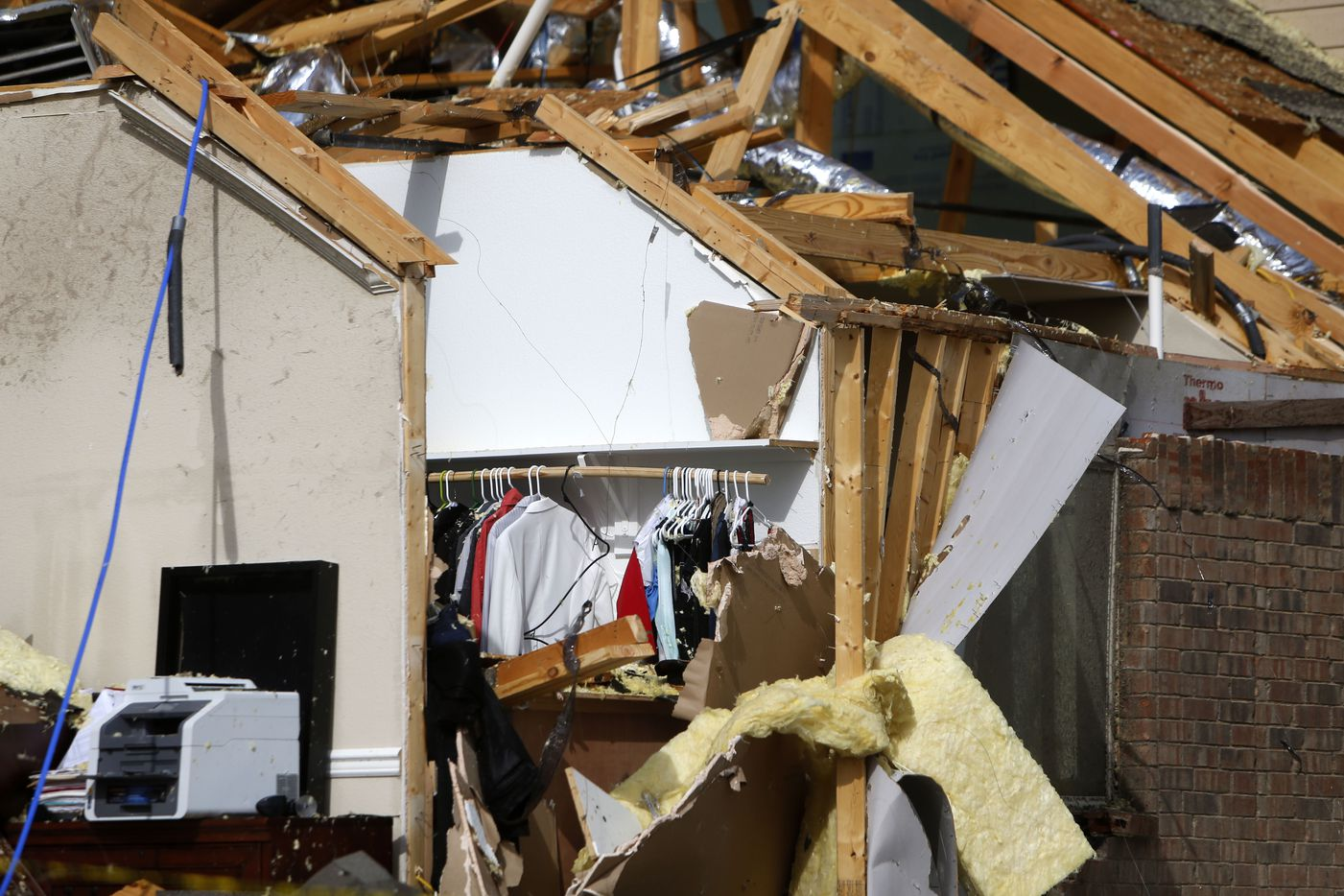 A damaged home along Panhandle Drive following a storm in the early hours of the morning in Rockwall, Texas on Wednesday, March 29, 2017. (Rose Baca/The Dallas Morning News)