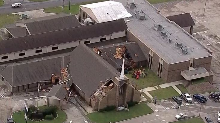 A Baptist church in Greenville took heavy damage as storms hit the city in the early evening Wednesday.