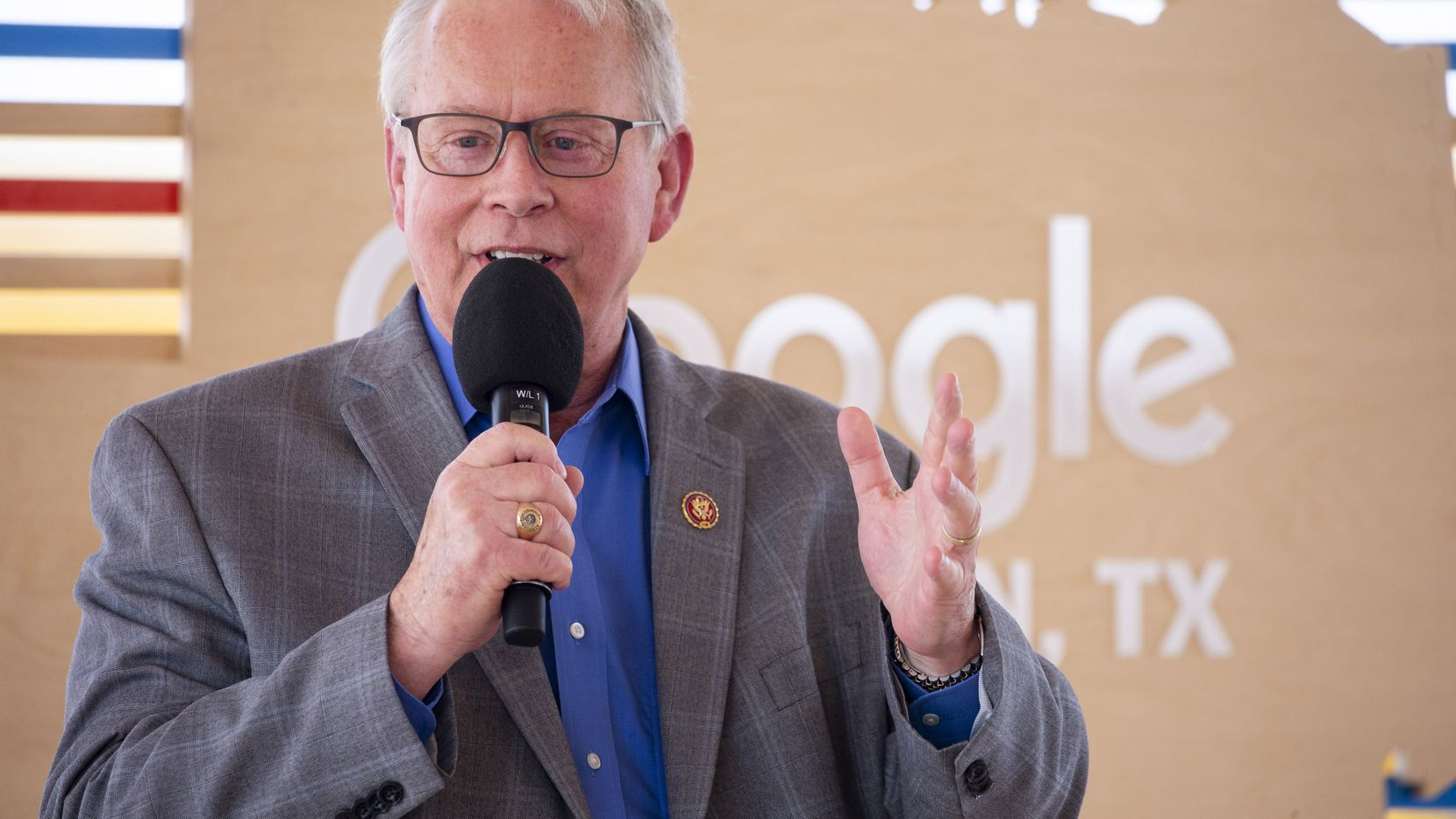 U. S. Representative Ron Wright gives remarks during an announcement of Google's new data center in Midlothian, Texas on Friday, June 14, 2019.