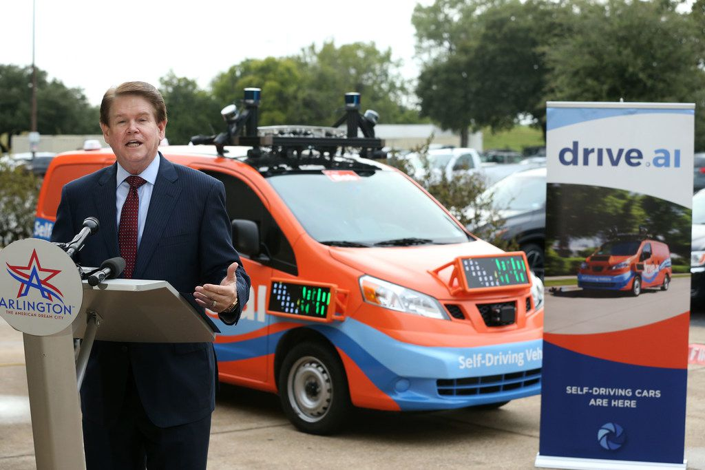 Arlington Mayor Jeff Williams talks about the debut of driverless vehicles in Arlington this week. The general public will be able to use the service for free starting Friday.