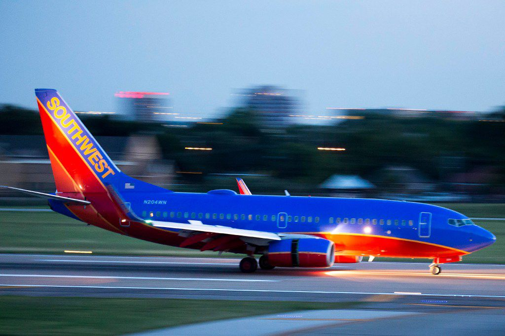 A Southwest airlines 737 lands at at Love Field on Tuesday, June 6, 2017, in Dallas. (Smiley N. Pool/The Dallas Morning News)