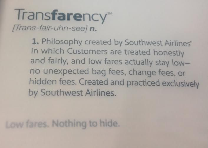 "Southwest Airline's new advertising campaign can be seen in the current (October) issue of its inflight magazine. ""Transfarency"" is on the cover and the ad above is on page 17. (Sheryl Jean/The Dallas Morning News)"