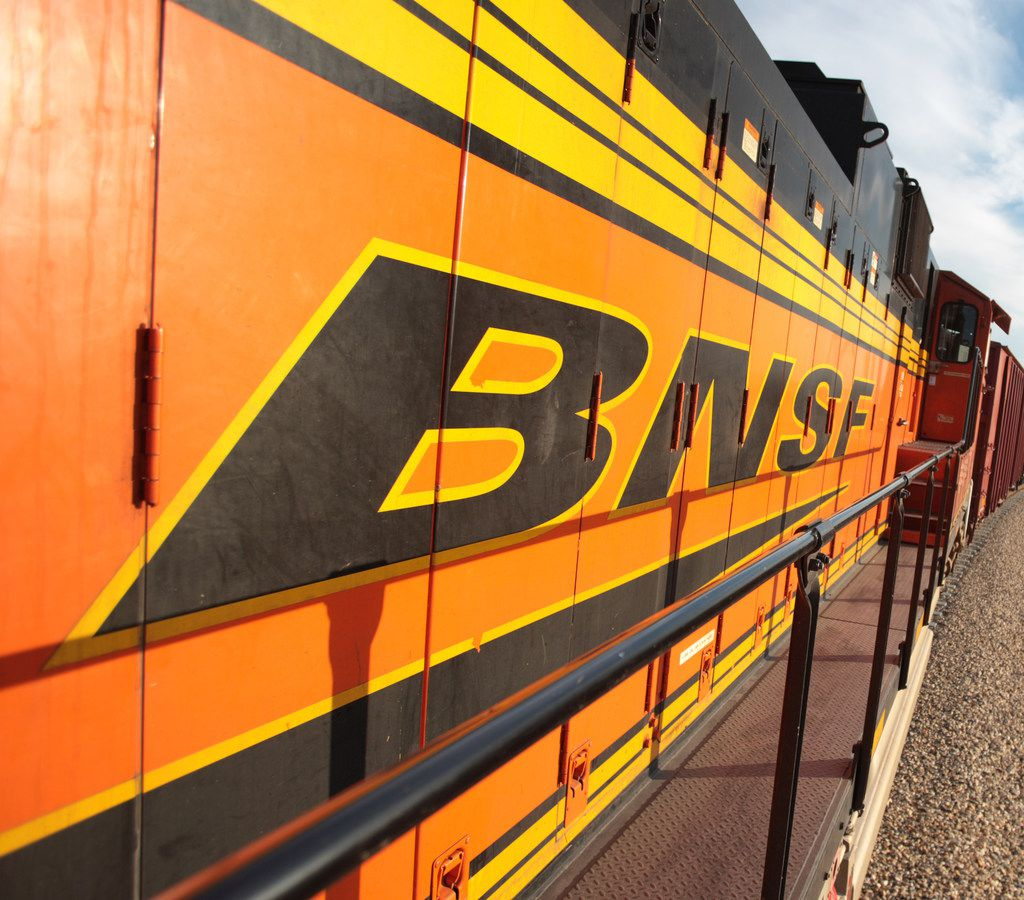 A BNSF train from a side view. BNSF is based in Fort Worth. Rangeland COLT facility, Epping North Dakota.  July 23rd 2012  Photo Credit: Steve Crise    Steve Crise 2012 310 963 9265 www.Scrise.com Scrise@aol.com