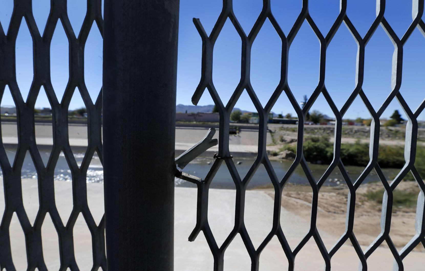 The old mesh fencing that was replaced by a new 18-ft high bollard style border wall starting near the El Paso Port of Entry and extending eastward along the Rio Grande River, seen Thursday, November 8, 2018.