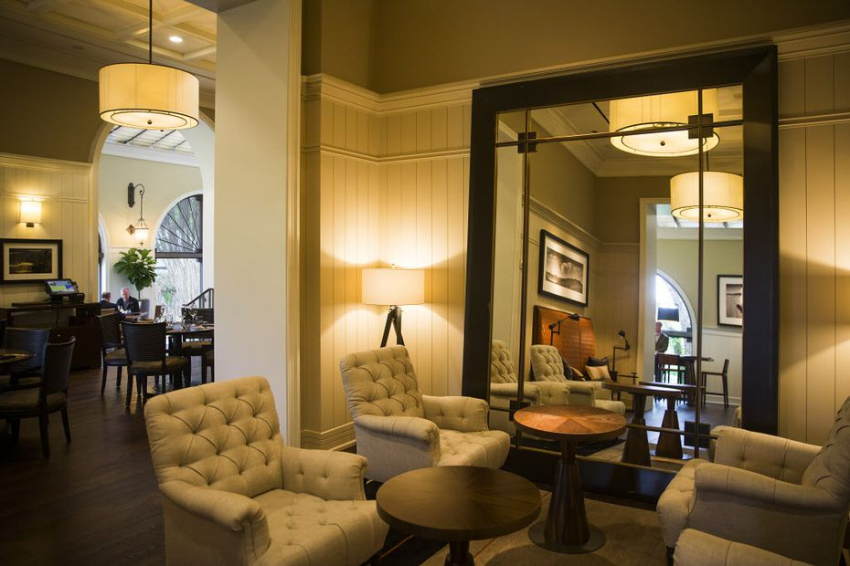 Cafe on the Green is long gone, in terms of decor and cuisine. LAW at the Four Seasons Resort and Club Dallas at Las Colinas has dark wood floors and comfy chairs.