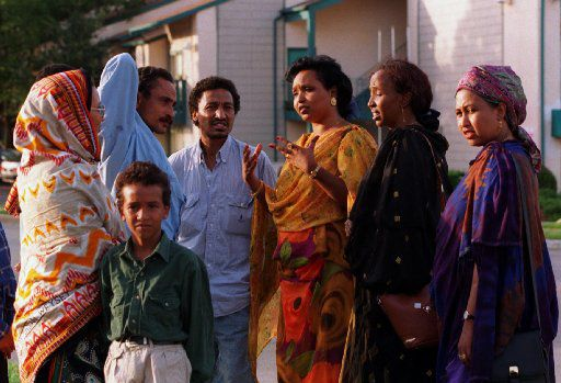 From 1996 archives from The Dallas Morning News-Safia Ismael, center with hands  outstretched, talks with other Somalis out in front of an  apartment complex off of Pineland in North Dallas. She has become  a well known advocate for the new Somali refugees in the  Metroplex and works with them in her off time with no pay.
