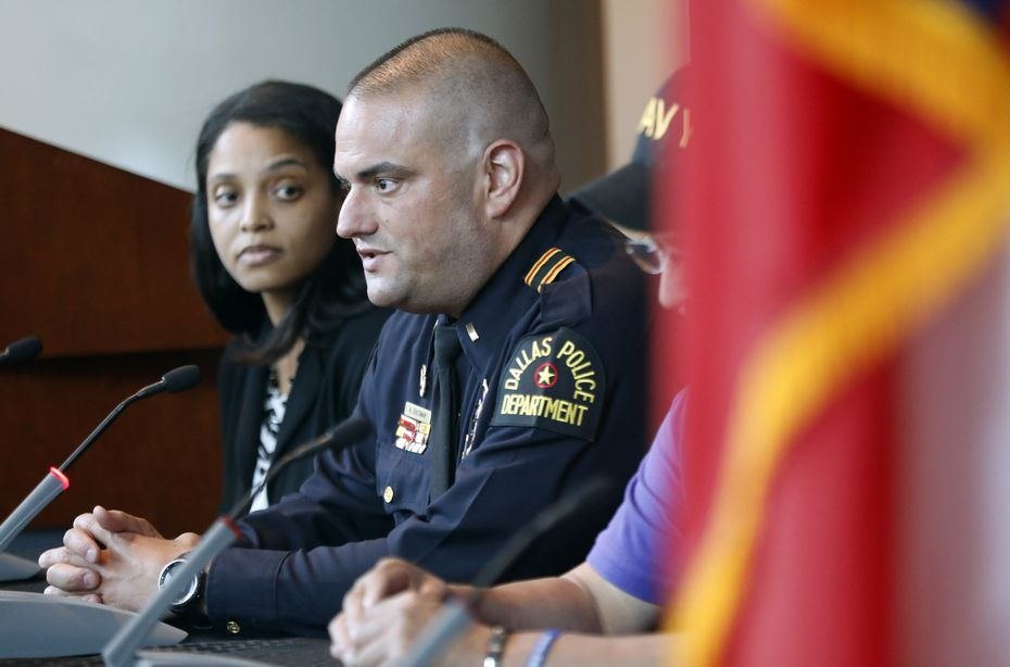 Dallas Police lieutenant and lead medical officer Alex Eastman took part in the July 7 Anniversary panel discussion at Dallas Police Headquarters on  July 7, 2017.