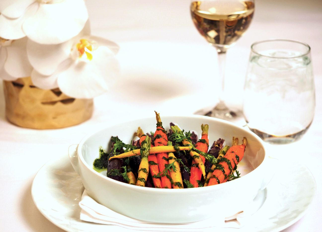 Roasted Thumbelina Carrots with Carrot Top Pesto from chef Kelly Bianchi at Wynn Las Vegas
