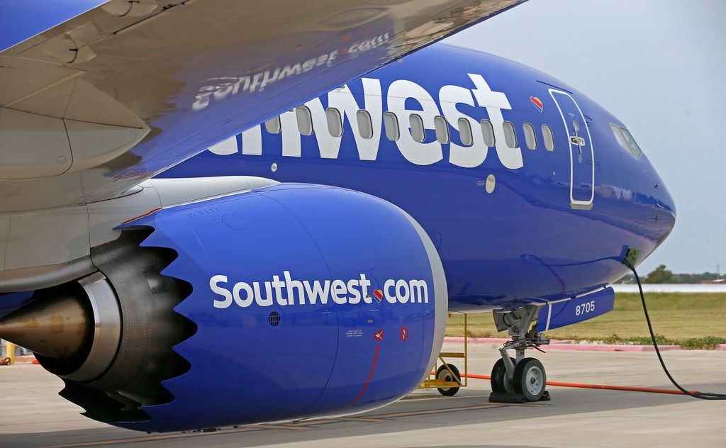 Southwest Airlines' new plane, the 737 Max, at headquarters in Dallas, Tuesday, Sept. 12, 2017. (Jae S. Lee/The Dallas Morning News)