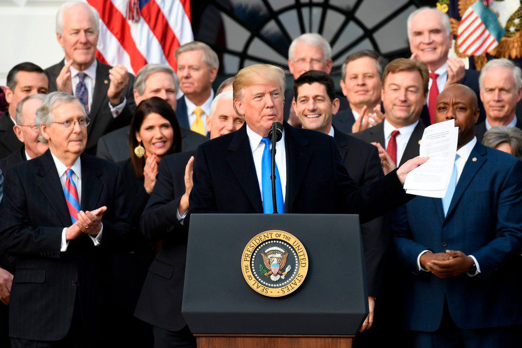 President Donald Trump speaks about the passage of tax reform legislation at the White House on Wednesday.