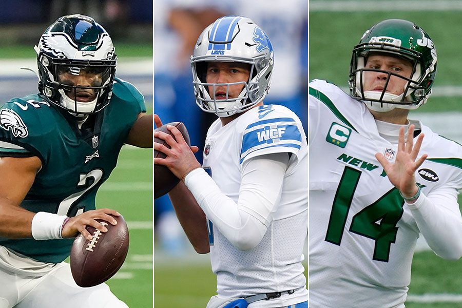 Eagles quarterback Jalen Hurts (left), new Rams quarterback Matthew Stafford (center) and new Panthers quarterback Sam Darnold. (Photo credit L to R: The Dallas Morning News, AP Photo and AP Photo)