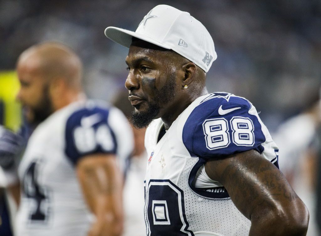 Dallas Cowboys wide receiver Dez Bryant (88) stands on the sideline during the second quarter of their game against the Carolina Panthers on Thursday, November 26, 2015 at AT&T Stadium in Arlington, Texas.   (Ashley Landis/The Dallas Morning News)