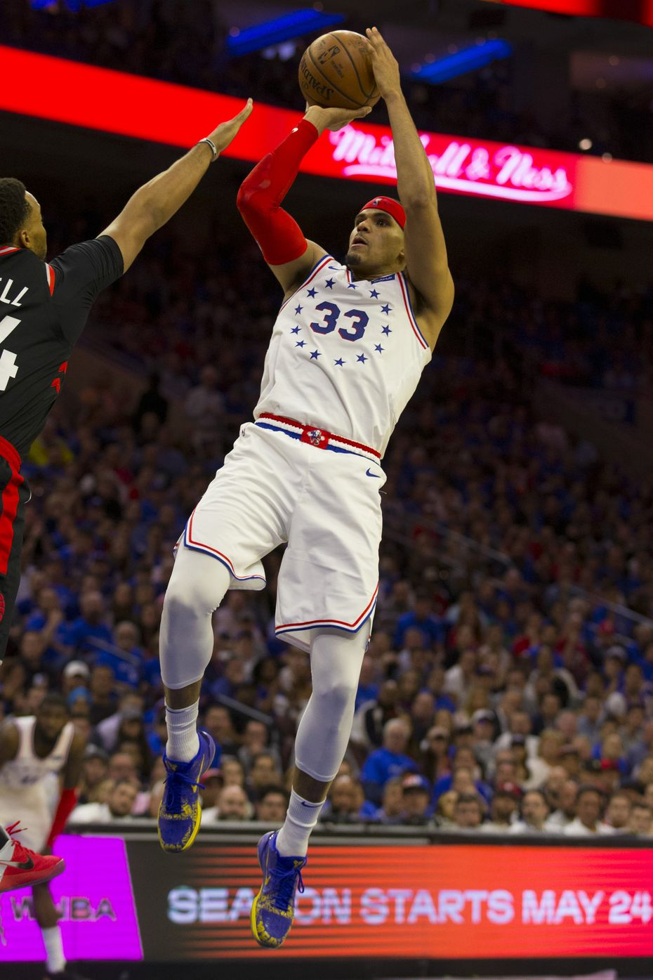 Tobias Harris #33 of the Philadelphia 76ers shoots the ball against the Toronto Raptors in Game Three of the Eastern Conference Semifinals at the Wells Fargo Center on May 2, 2019 in Philadelphia, Pennsylvania. The 76ers defeated the Raptors 116-95.
