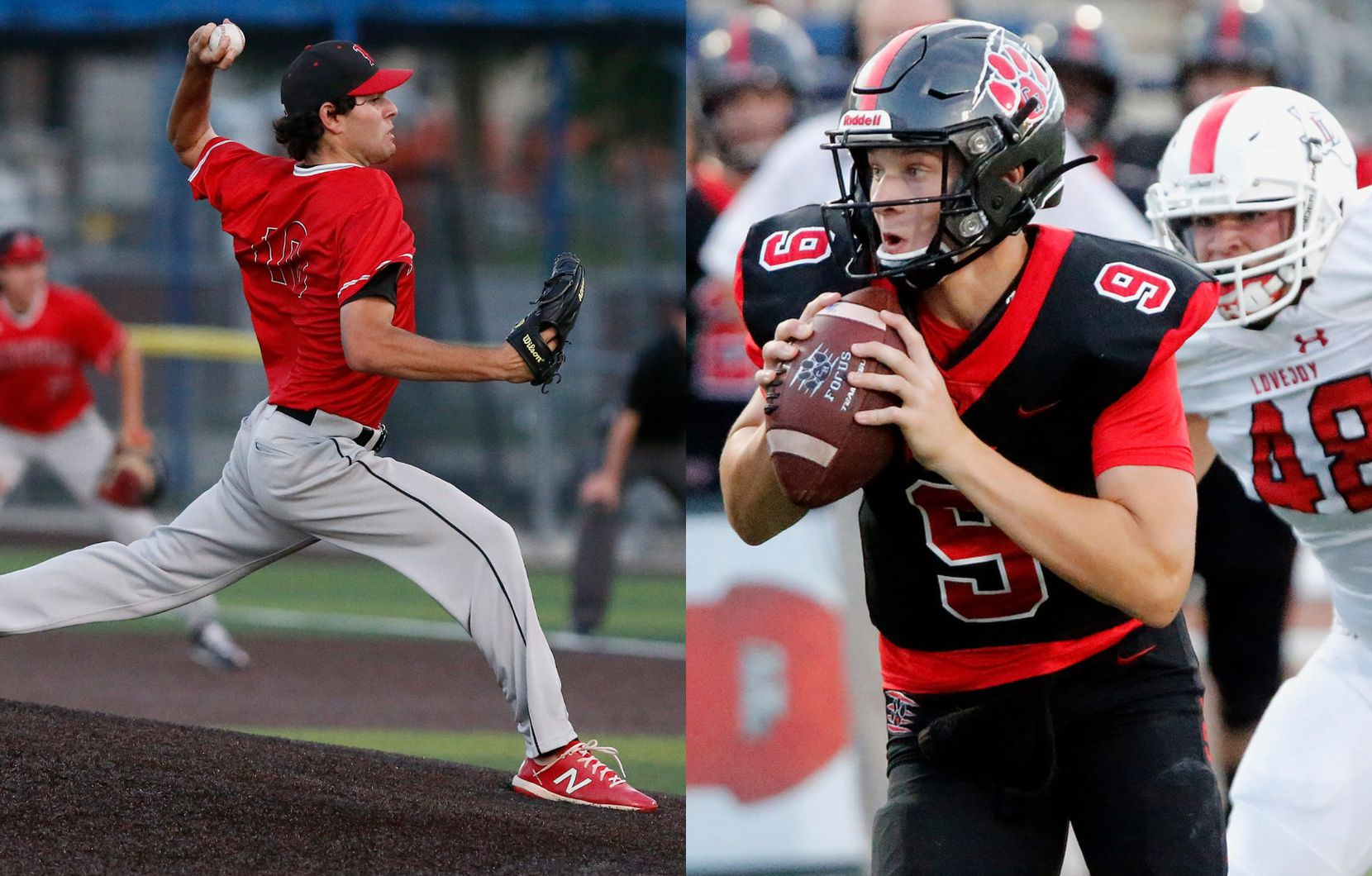 From left to right: Hillcrest High School pitcher Ryan Prager and Colleyville Heritage High School pitcher AJ Smith-Shawver, playing quarterback.