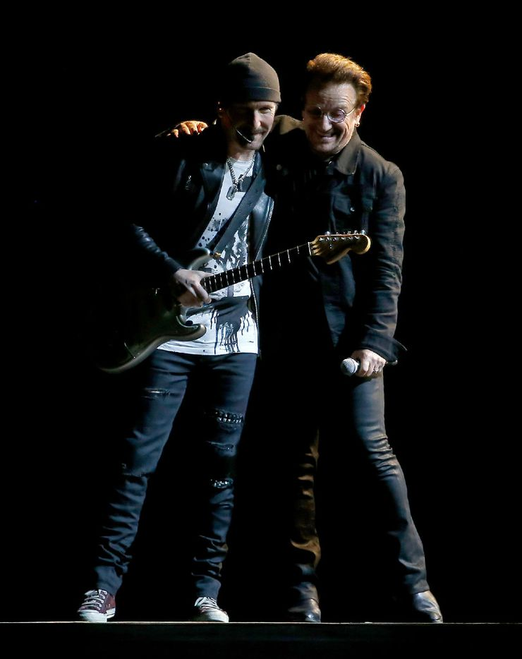 Bono (right) and the Edge of U2 perform on stage at AT&T Stadium in Arlington, Texas, Friday, May 26, 2017. (Jae S. Lee/The Dallas Morning News)