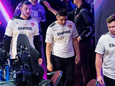 """From left, Reece """"Vivid"""" Drost, Anthony """"Shotzzy"""" Cuevas-Castro, and Ian """"C6"""" Porter react to the Dallas Empires elimination from the  Call of Duty league playoffs at the Galen Center on Saturday, August 21, 2021 in Los Angeles, California. The Empire lost to Toronto Ultra 2 - 3, eliminating them from the tournament. (Justin L. Stewart/Special Contributor)"""