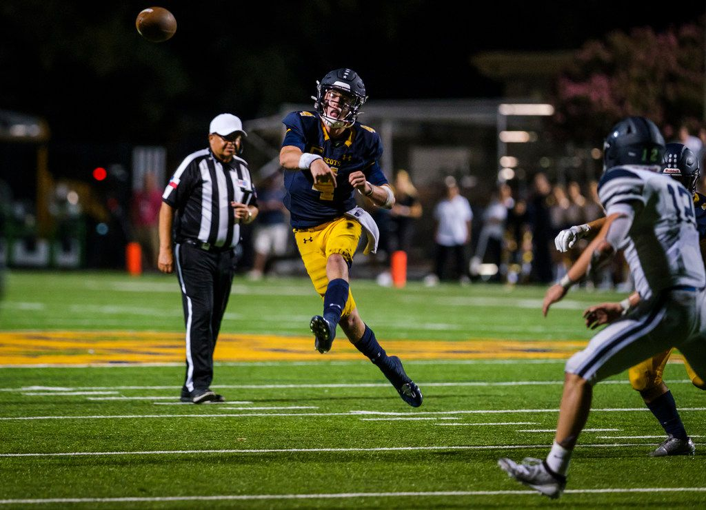 Highland Park quarterback Chandler Morris (4) throws a pass during the second half of a high school football game against the Frisco Lone Star at Highlander Stadium on Friday, Sept. 13, 2019, in Dallas. (Smiley N. Pool/The Dallas Morning News)