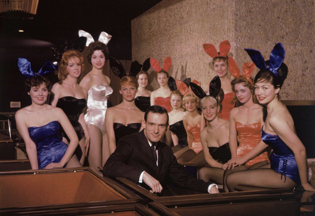 ORG XMIT: PRN6 Hugh M. Hefner, surrounded by a dozen Playboy Bunnies, at the original Chicago Playboy Club in 1960.