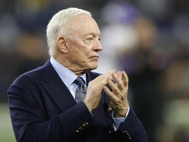FILE - Cowboys owner Jerry Jones claps as the team takes the field for warmups before a game against the Minnesota Vikings in Arlington on Sunday, Nov. 10, 2019.