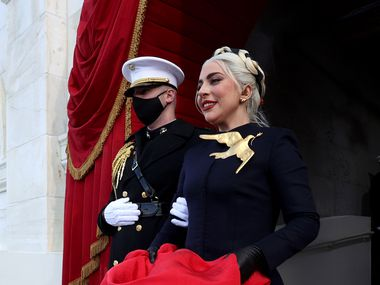 Lady Gaga arrives for the inauguration.