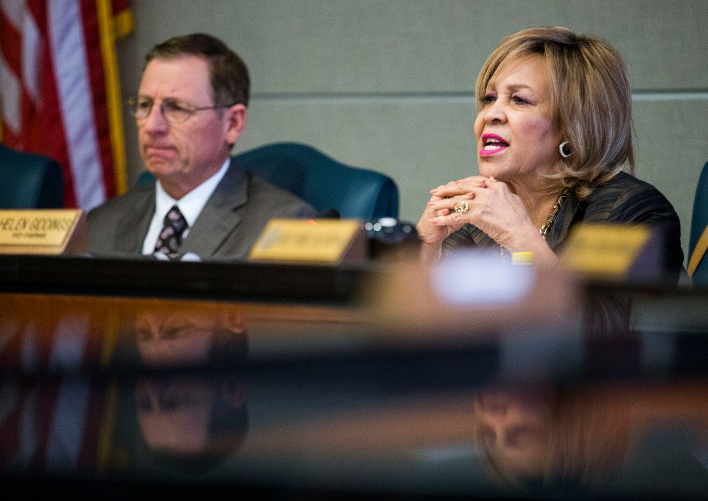 Representative Byron Cook, left, and Representative Helen Giddings talk to Representative Larry Gonzales, not pictured, chair of the Sunset Bill committee during a State Affairs meeting on the second day of a special legislative session on Wednesday, July 19, 2017 at the John H. Reagan State Office Building in Austin, Texas. (Ashley Landis/The Dallas Morning News)