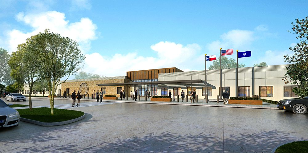 A graphical rendering showing the new U.S. Citizenship and Immigration Services' Texas Service Center at The DFW International Airport set to open in 2020.